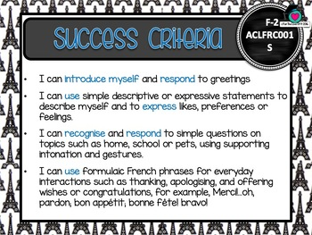 GRADE F-2 Australian FRENCH Editable Learning Goals & Success Criteria Posters