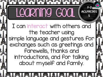 GRADE F-2  FRENCH  Au. Curric. Learning Goals & Success Criteria Posters.