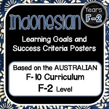 GRADE F-2  INDONESIAN  Au. Curric. Learning Goals & Success Criteria Posters.