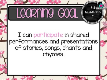 GRADE F-2  JAPANESE  – Aus. Curric. Learning Goals & Success Criteria Posters.