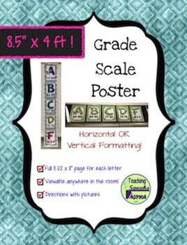 4 FOOT Grade Scale POSTER ~ Teal Grunge Coordinated Diamon