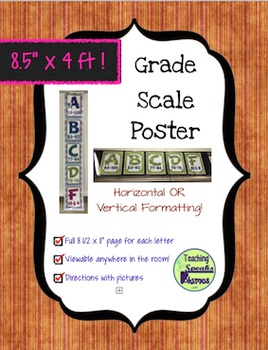 4 FOOT Grade Scale POSTER ~ Warm Stripes & Cool Letters