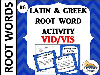 GRADES 4-6 GREEK AND LATIN ROOT WORD ACTIVITY GAME QUIZ #6