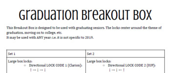 GRADUATION BREAKOUT BOX/ESCAPE ROOM! Any subject!