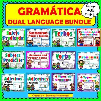 Sustantivos-Pronombres-Sujeto y Predicado-Verbos-Gramática-Dual Language-BUNDLE