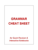 GRAMMAR CHEAT SHEET FOR QUICK REVISION AND INTERACTIVE NOTEBOOKS