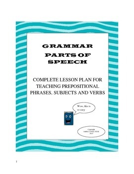 Parts of Speech-prepositional phrases, subjects, and verbs using symbols.