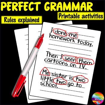Teaching GRAMMAR Lesson Cards Correcting Common Grammar Mistakes