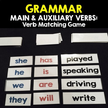 GRAMMAR:  MAIN & AUXILIARY VERB - Verb Matching Game