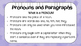 GRAMMAR - Pronouns and Paragraphs - with activities
