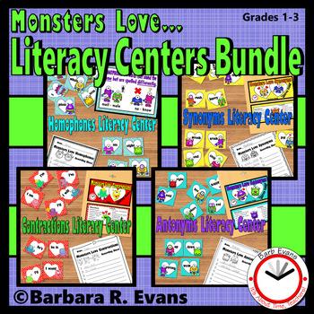 GRAMMAR VOCABULARY BUNDLE Monsters Literacy Centers