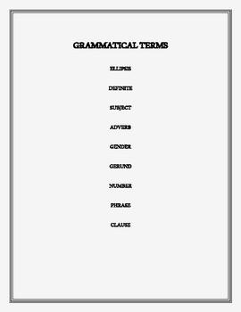 GRAMMATICAL TERMS PART 1 CROSSWORD PUZZLE