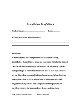 GRANDFATHER TANG'S STORY (Embedding Reading, Writing, and Math)