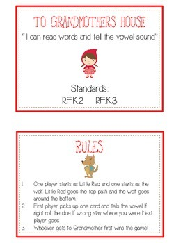 GRANDMOTHER'S HOUSE Vowels- ELA First Grade Folder Game - Word Work Center