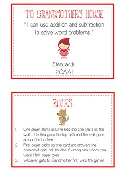 GRANDMOTHER'S HOUSE - Word Problems Adding & Subtracting - Math Folder Game