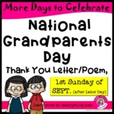 National Grandparents Day: Thank You Letter/Poem (From PRINCIPAL OR TEACHER)