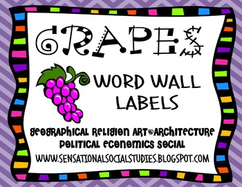 GRAPES Word Wall Labels