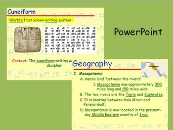 GRAPES Ancient Mesopotamia PowerPoint and notes extras