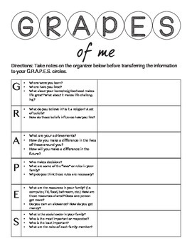 GRAPES Back to School Activity