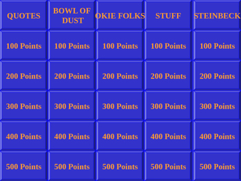 GRAPES OF WRATH JEOPARDY GAME PART 1
