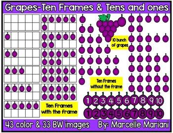 Place value clipart & ten frames-Grapes