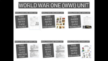 GRAPHIC ORGANIZER FOR WORLD WAR ONE (WWI) PPT (ALL 6 PARTS)