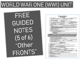 GRAPHIC ORGANIZER FOR WORLD WAR ONE (WWI) PPT (PART 5 OTHER FRONTS)