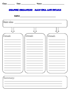 GRAPHIC ORGANIZER – MAIN IDEA AND DETAILS