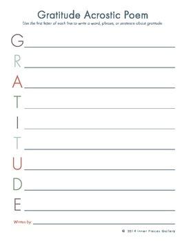 GRATITUDE Acrostic Poem FREE