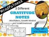 GRATITUDE NOTES - Mindfulness / S.E.L. / Growth Mindset activity