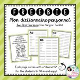 GRATUITÉ: Mon dictionnaire personnel / French Personal Dictionary FREEBIE