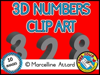 3D NUMBERS CLIPART: GRAY SOLID SHAPES CLIPART NUMBERS: MATH CLIPART