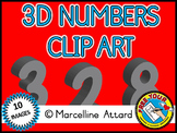 3D NUMBERS CLIPART: GRAY SOLID SHAPES CLIPART NUMBERS: MAT