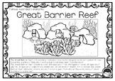 GREAT BARRIER REEF (an Australian landmark) 1 pg information and coloring sheet
