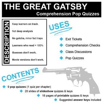 THE GREAT GATSBY 9 Pop Quizzes Bundle