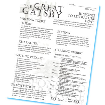 the great gatsby essay prompts grading rubrics by created for the great gatsby essay prompts grading rubrics