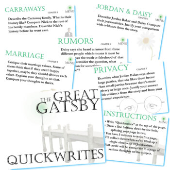 THE GREAT GATSBY Journal - Quickwrite Writing Prompts - PowerPoint