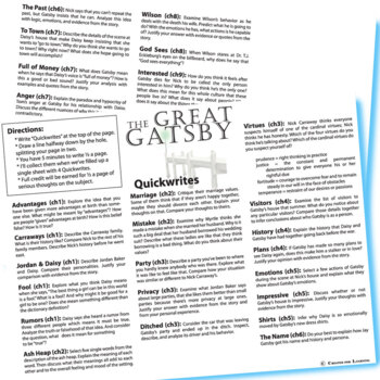 Ap essay prompts for the great gatsby