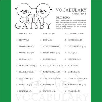 THE GREAT GATSBY Vocabulary List and Quiz (chap 1)