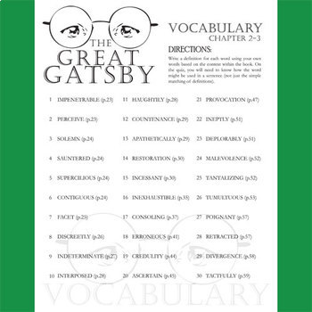 THE GREAT GATSBY Vocabulary List and Quiz (chap 2-3)