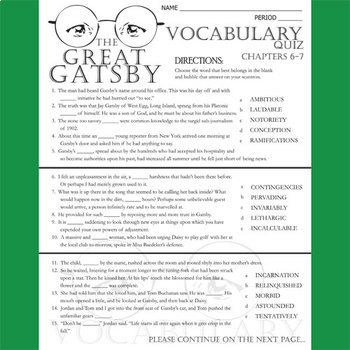 THE GREAT GATSBY Vocabulary List and Quiz (chap 6-7)
