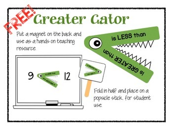 Freebie! GREATER GATOR - Greater/Less Than Visual Resource
