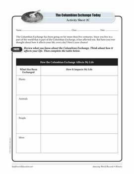 GREATEST MOVEMENT:THE COLUMBIAN EXCHANGE—History Worksheets and Activities