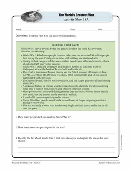 GREATEST WAR: WORLD WAR II—History Worksheets and Activities