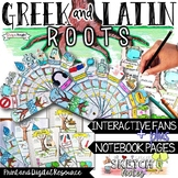 GREEK AND LATIN ROOTS VOCABULARY, INTERACTIVE ACTIVITIES, DOODLE NOTES, AND FANS