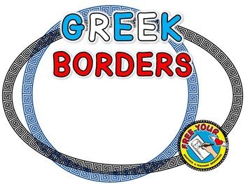 GREEK BORDERS: MYTHOLOGY CLIPART FRAMES IN 4 SHAPES