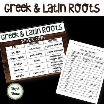 GREEK & LATIN ROOTS for 28 weeks!!! PPT, Word Wall, Pretests, and Quizzes!