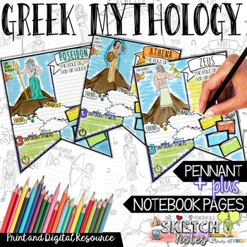 GREEK MYTHOLOGY ACTIVITIES, RESEARCH PENNANT, SKETCHNOTES, CREATIVE, AND FUN