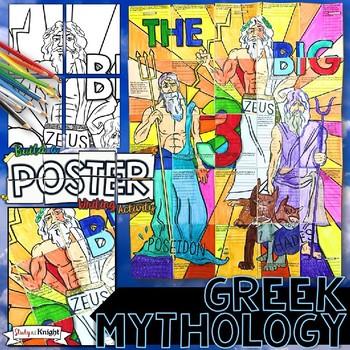 GREEK MYTHOLOGY COLLABORATIVE POSTER WITH GREEK GODS WRITI