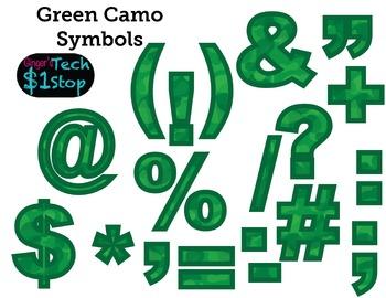 GREEN CAMO * Bulletin Board Letters * Symbols * Punctuation * Memorial